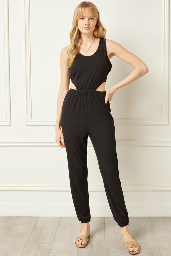 side cutouts ribbed round neck sleeveless jumpsuit