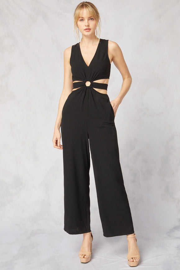 side cutouts v-neck sleeveless jumpsuit