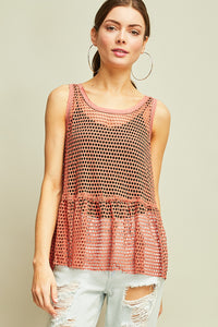 3002-1-Entro-fishnet sleeveless top-RK Collections Boutique