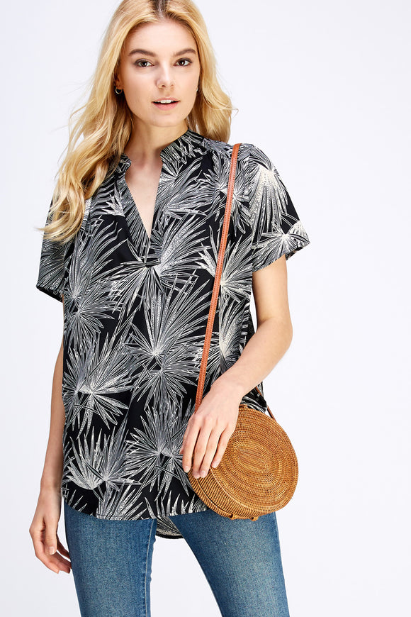 Tropical print placket blouse