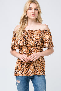 3930-1-Entro-Leopard print off-shoulder top-RK Collections Boutique