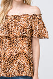 -Entro-Leopard print off-shoulder top-RK Collections Boutique