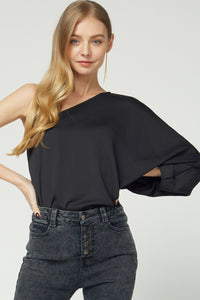 Silky one shoulder long sleeve top