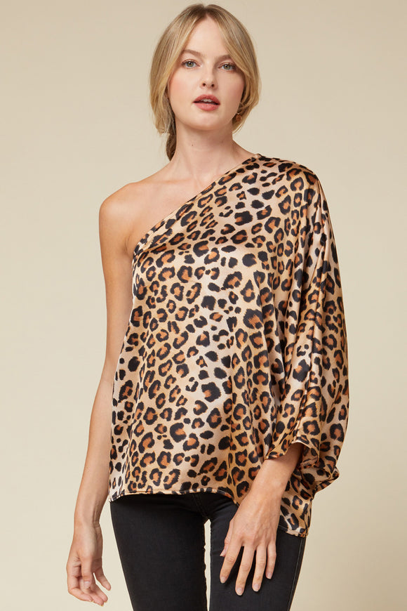 Satin leopard print one-shoulder top