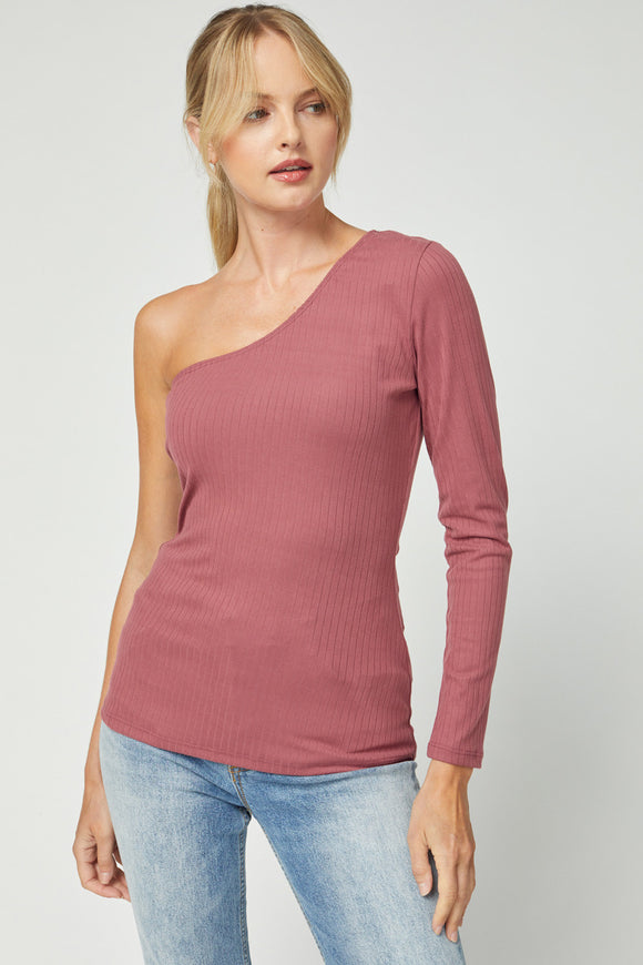 6049-1-Entro-Ribbed one sleeve top-RK Collections Boutique