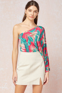 Tropical print one shoulder long sleeve bodysuit