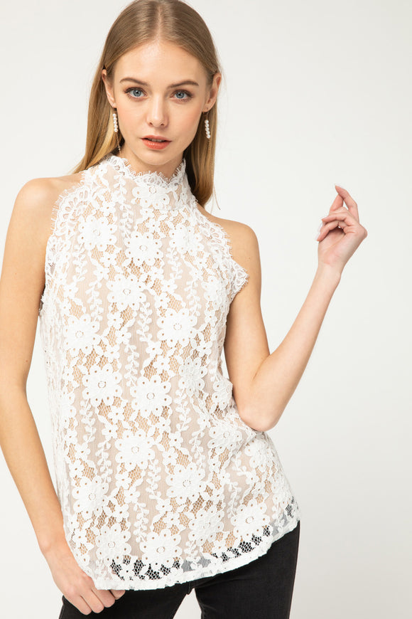 High neck sleeveless lace top