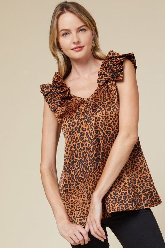 T14886-1-Entro-Leopard ruffle shoulder sleeveless top-RK Collections Boutique