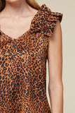 -Entro-Leopard ruffle shoulder sleeveless top-RK Collections Boutique