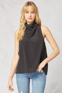 sleeveless funnel neck blouse