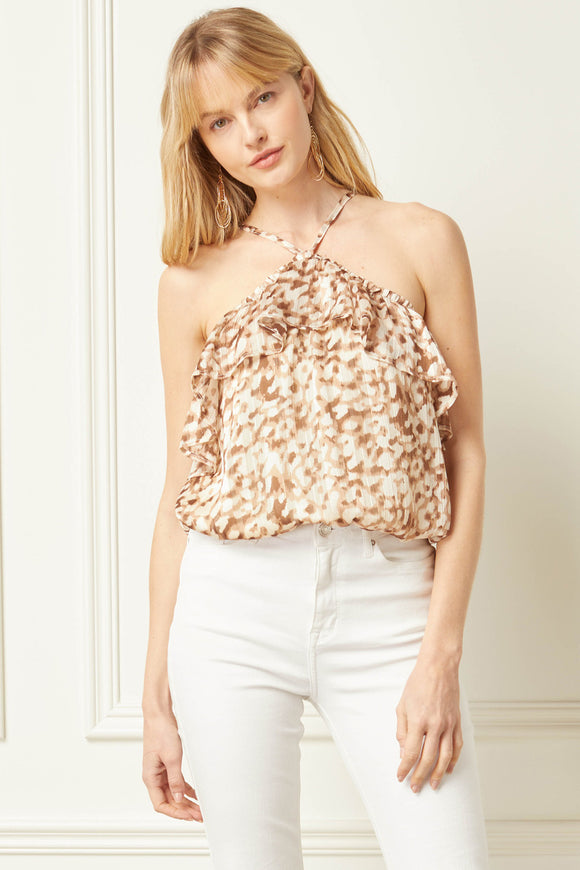 Leopard print halter neck sleeveless top