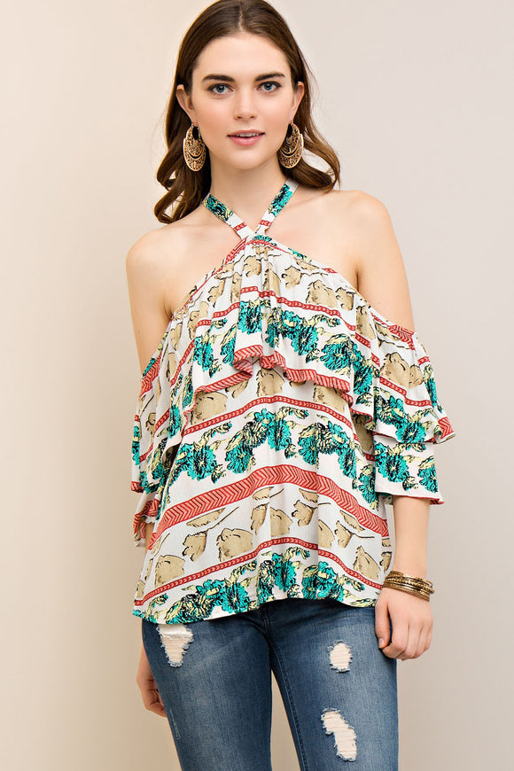 T6458-1-Entro-Layered printed 3/4 sleeve off the shoulder blouse-RK Collections Boutique