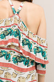 -Entro-Layered printed 3/4 sleeve off the shoulder blouse-RK Collections Boutique
