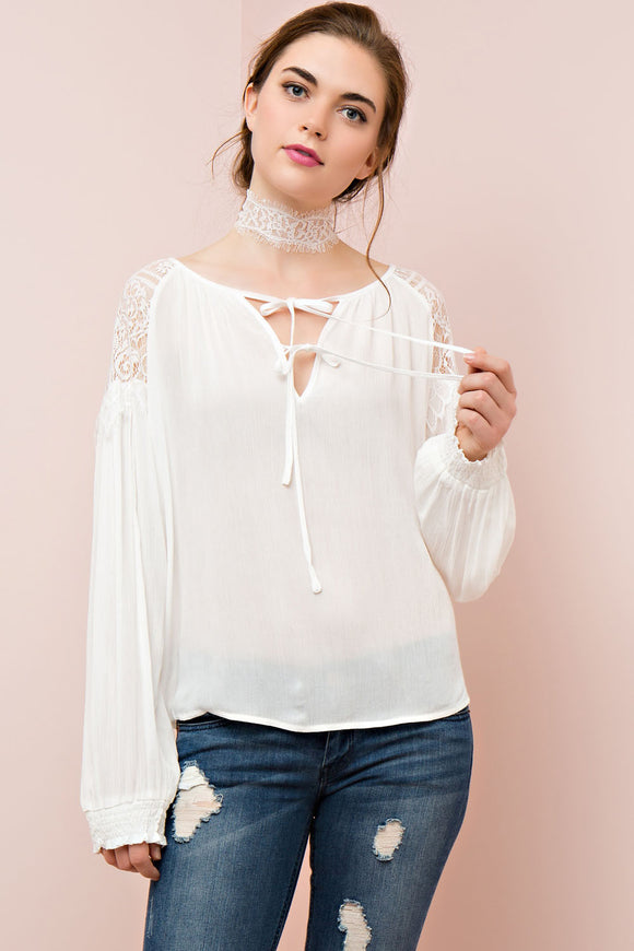 Lace shoulder peasant top