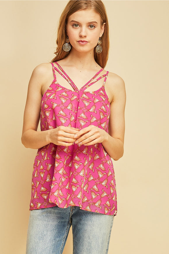 T7002-1-Entro-Printed spaghetti strap cami-RK Collections Boutique