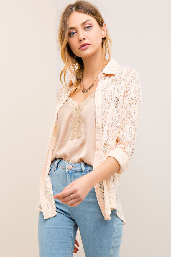 Lace button-down shirt