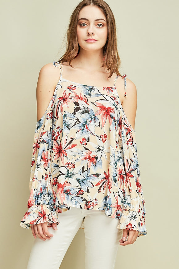 Tropical print cold shoulder woven top
