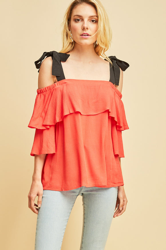 T7708-1-Entro-layered off the shoulder top with contrast straps-RK Collections Boutique