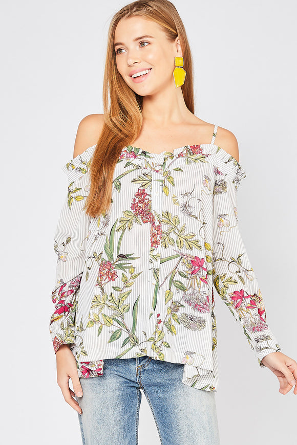 Floral print & stripe cold shoulder button down top