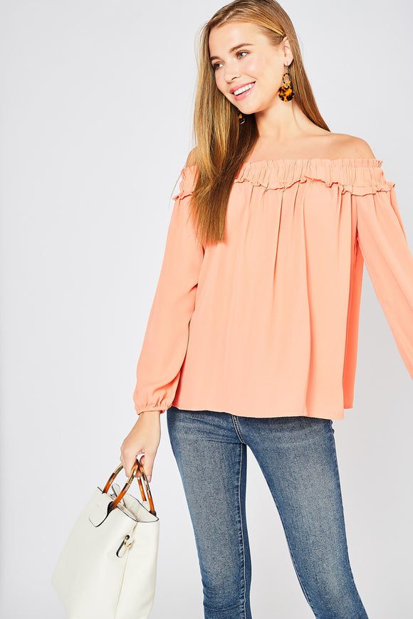 T9397-1-Entro-Long sleeve off the shoulder top-RK Collections Boutique