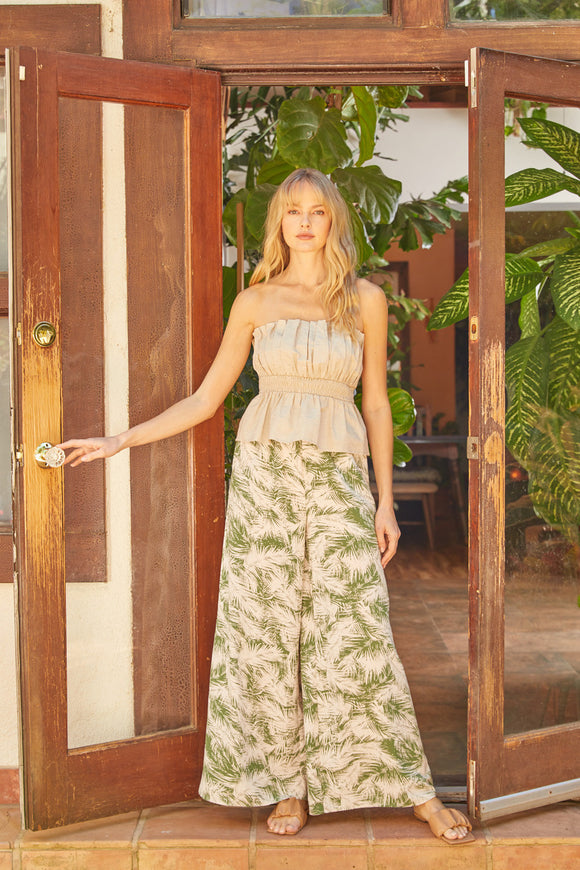 Tropical print high waist wide leg pants