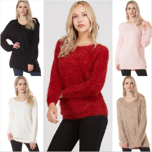 Faux Angora Crew Neck Sweater - by Love Tree - available at rkcollections.myshopify.com -  - Tops-Sweater