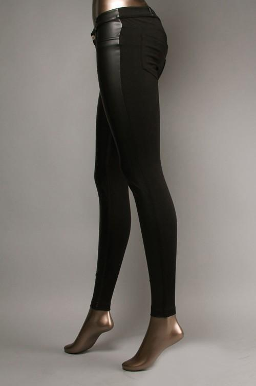 faux leather front knit back pant - by Klique B - available at rkcollections.myshopify.com -  - Pants
