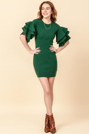 -Favlux-Ruffle sleeve bodycon sweater dress-RK Collections Boutique