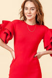 FL20H460-1-Favlux-Ruffle sleeve bodycon sweater dress-RK Collections Boutique