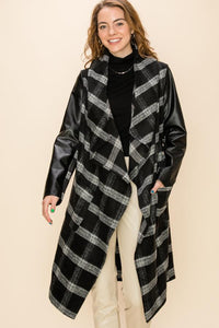FL21C031-1-Favlux-Plaid leather sleeve trench coat-RK Collections Boutique
