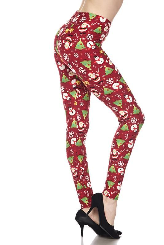 Festive Christmas Theme Brushed Ankle Leggings - by 2NE1 - available at rkcollections.myshopify.com - ONE SIZE - Leggings