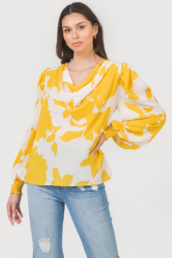 Floral long sleeve cowl neck blouse