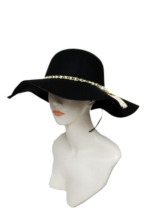 Floppy Hat with Pearl Tassel Band - by Cap Zone - available at rkcollections.myshopify.com -  - Accessory:Hat