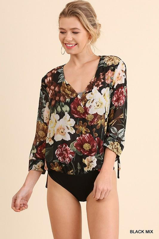Floral Print Bodysuit - by Umgee - available at rkcollections.myshopify.com -  - Tops-Bodysuit