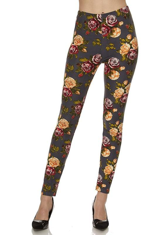 Floral Print Brushed Ankle Leggings - by 2NE1 - available at rkcollections.myshopify.com -  - Leggings