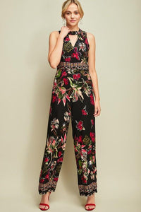 Floral Print Mock Neck Jumpsuit - by Entro - available at rkcollections.myshopify.com -  - Jumpsuit