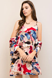D6500-RC-S-Entro-Floral print open-shoulder shift dress-RK Collections Boutique
