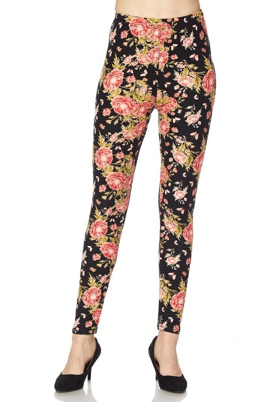 floral print yummy brushed ankle leggings - by 2NE1 - available at rkcollections.myshopify.com -  - Leggings