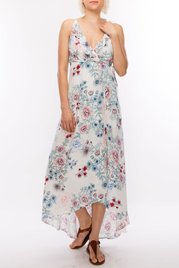 floral ruffle trim wrap maxi dress - by Favlux - available at rkcollections.myshopify.com -  - Dress