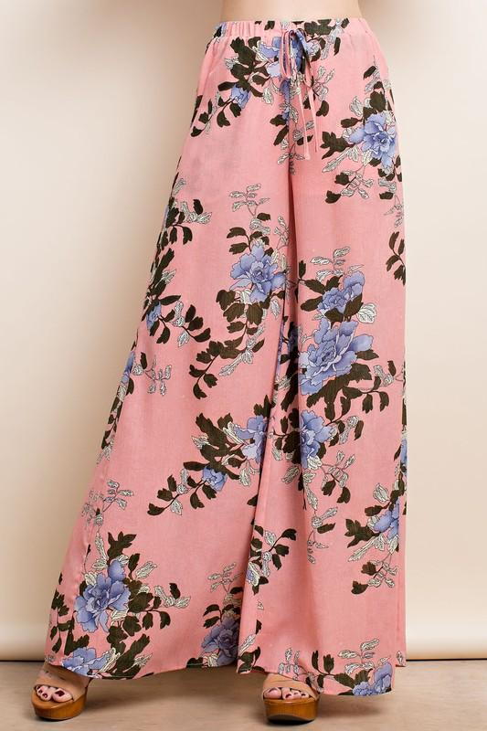 Floral Waist Tie Pant - by LLove Show - available at rkcollections.myshopify.com -  - Pants
