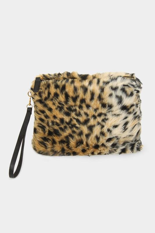 Fur Clutch with Wristlet - by Wona Trading - available at rkcollections.myshopify.com - Brown - Accessory:Bag