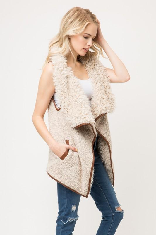 Fur Collared Draped Open Front Sherpa Vest - by Love Tree - available at rkcollections.myshopify.com -  - Tops-Vest