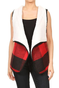 fur lined plaid vest - by S&G - available at rkcollections.myshopify.com -  - Tops-Vest