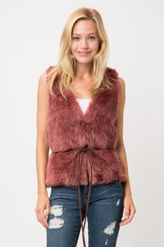 Fur Vest  with Waist Tie - by Love Tree - available at rkcollections.myshopify.com -  - Tops-Vest