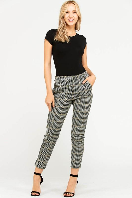 Glen Plaid Ankle Pant - by Love Tree - available at rkcollections.myshopify.com -  - Pants