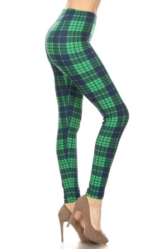 Green and navy plaid print legging - by Awesome J - available at rkcollections.myshopify.com - ONE SIZE - Leggings