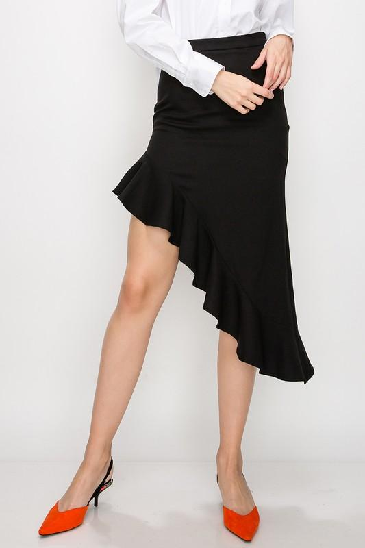 HIGH-LOW RUFFLE SKIRT - by Favlux - available at rkcollections.myshopify.com -  - Skirts