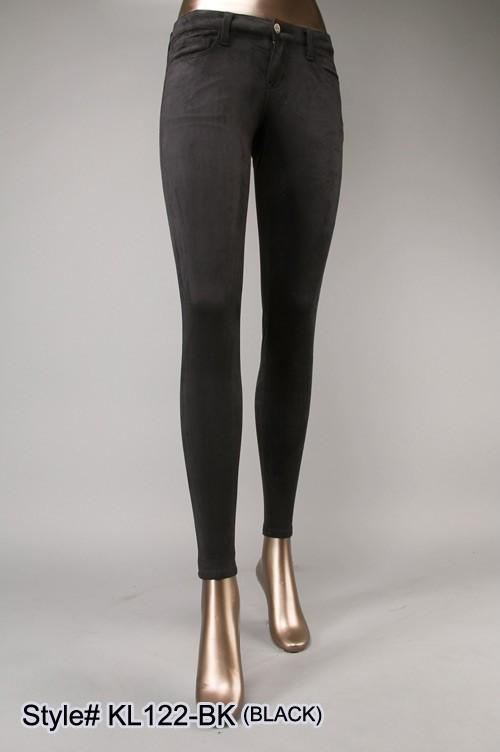 high waist 5 pocket suede pants - by Klique B - available at rkcollections.myshopify.com -  - Pants