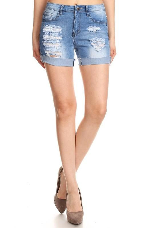 high waist cuffed shorts - by Denim Couture - available at rkcollections.myshopify.com -  - Shorts