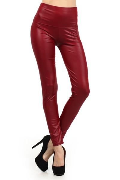 high waist faux leather leggings - by Color 5 - available at rkcollections.myshopify.com -  - Leggings